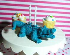 Teal Alligator Birthday Candle Holder by TonysDinostore on Etsy