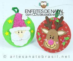 Enfeite de natal para àrvore de natal, feito com CD decorado com EVA. Criação da artesã Ana Paula, do site EVA colorido.