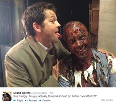 My gosh - I just saw this episode 3 days ago!! that guy was the GROSSest looking crispy critter!!! Misha is too funny.