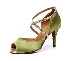 Kevin Fashion K6112 Womens Ankle Wrap Green Satin Ballroom Latin Dance Sandals 10 M US * You can find out more details at the link of the image.