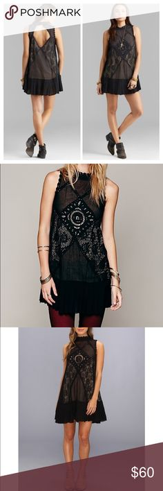 Free People Angel Lace Slip Dress Beautiful black dress, great in the fall with sweater and black tights or in the summer with sandals. Pre-loved condition, only worn two or three times. Stunning dress, just a bit too small on me.  Free People Dresses