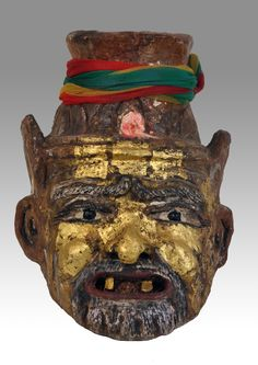 Vintage authentic Thai hermit mask in clay and gold leaves - Private collection of Stephane Peray ( stephff ) artist based in Bangkok