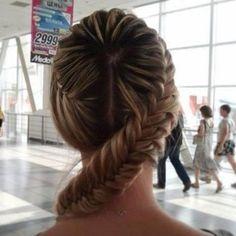 overhead fishtail swirl braid bun.