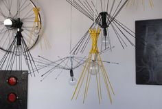 Yellow 10 Spoke Pendant Lights by ReMain Eco Designs on Etsy