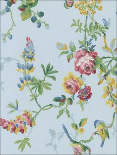 wallpaperstogo.com WTG-094481 Schumacher Traditional Wallpaper Go Wallpaper, Fabric Wallpaper, Traditional Wallpaper, Schumacher, Cottage, Floral, Painting, Powder Room, Design