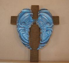 Metallic Blue Angel Wings on Wooden Cross by Repurposedlifeokla, $35.00