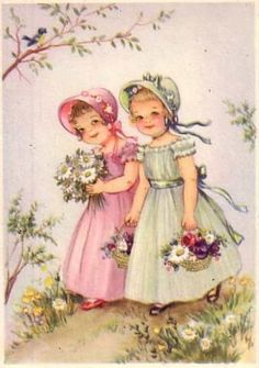 Hannes Petersenill - Elfen & Boeken -  Two little girls walking with posies