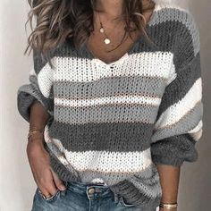 Sweaters for women For Sale - Fashion V-neck Stripe Knit Pullover Sweater Casual Loose Sweaters Women Lazy Wind Vintage Knitted Long Sleeve Thin Jumper Tops. Hello from Powell - Wyoming. Bye from Camilla - Georgia Loose Knit Sweaters, Casual Sweaters, Long Sweaters, Sweaters For Women, Sweaters Knitted, Chunky Knit Jumper, Chunky Sweaters, Winter Sweaters, Long Sleeve Sweater