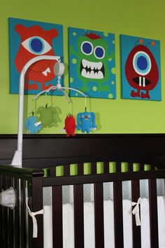 "The 3 paintings I am getting ideas from for Brantley's bedroom!  Hopefully my ""monsters"" turn out similar but if anyone has any suggestions, let me know!"