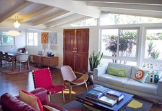 A Cliff May Ranch house interior-showing one of the things I love about his houses-white  beams on white ceilings.