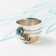 Chunky Turquoise Silver Ring, Handmade Gemstone Silver Flower Ring, Wide Silver Ring, Turquoise Sterling Silver Ring,  JR068