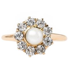 Pre-owned Delicate and Feminine Victorian Era Pearl Ring with Diamond... ($3,200) ❤ liked on Polyvore featuring jewelry, rings, engagement rings, pre owned engagement rings, horn ring, pre owned jewelry, preowned engagement rings and halo diamond ring