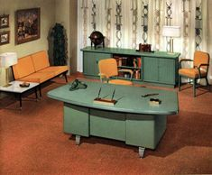 The way offices used to look: Vintage office furniture and sleek mid-century modern desks from 1959 - Click Americana Mid Century Modern Desk, Mid Century Modern Furniture, Furniture Plans, Office Furniture, Mod Furniture, Vintage Furniture, Office Decor, Mid-century Modern, Modern Decor