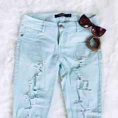 Distressed Jeans Seafoam blue distressed skinny jeans by BoomBoom Jeans, size 1 (XS), stretchy fabric. BoomBoom Jeans