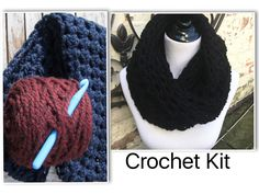 DIY Crochet Kit double wrap cowl scarf kit includes wool blend yarn large crochet hook free pattern project bag and instruction booklet by KitsnKnits on Etsy