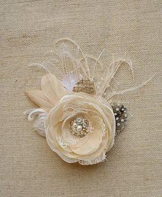 Rustic Wedding Hairpiece Bridal Hair Clip Headpiece by BelleBlooms