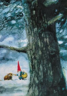 David the Gnome feeding a small mouse in winter - Christmas Card Magical Creatures, Fantasy Creatures, Illustrations, Illustration Art, David The Gnome, Baumgarten, Kobold, Christmas Gnome, Dutch Artists