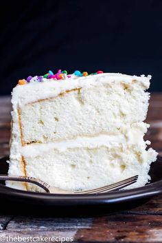 Looking for a vanilla cake recipe? This homemade white cake is kept fluffy by folding in whipped egg whites.