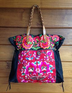 Vintage Hmong baby carrier tote bag ethnic handmade Tribal embroidery geuine leather strap