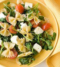 bow tie, spinach, tomato and feta dish