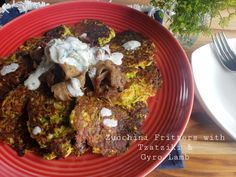 Zucchini Fritters with Tzatziki and Gyro Lamb – Fabulous Fare Sisters Gyro Meat, Coconut Oil Spray, Cooking With Coconut Oil, Shredded Zucchini, Zucchini Fritters, Angel Hair, Minced Onion, Fresh Dill