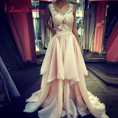 102.49$  Buy now - http://vietc.justgood.pw/vig/item.php?t=hk2gwp50450 - Sexy V-Neck Prom Evening Dresses Tiered Satun Pearls Party Bridal Gowns Custom 102.49$