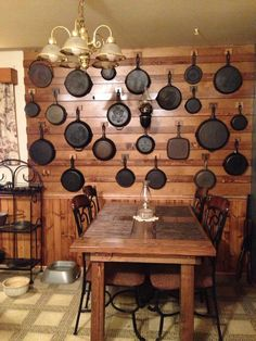 Top 10 French Cleat wall my husband built to hang my cast iron collection Rustic Kitchen, Kitchen Decor, Condo Kitchen, Kitchen Storage, Kitchen Organization, Organizing, Iron Storage, French Country Kitchens, Wood Home Decor