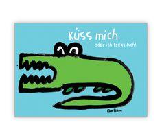 Küss mich oder ich fress Dich – romantische Krokodilskarte - http://www.1agrusskarten.de/shop/kuss-mich-oder-ich-fress-dich-romantische-krokodilskarte/    00015_0_970, Comic, Grußkarte, Klappkarte, Krokodil, Liebe, Romantik, Tiere, Valentinskarten00015_0_970, Comic, Grußkarte, Klappkarte, Krokodil, Liebe, Romantik, Tiere, Valentinskarten