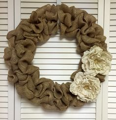 Neutral Large Burlap Wreath with Burlap Flowers, Wreath for All Year, Burlap Wreath for Door - pinned by pin4etsy.com