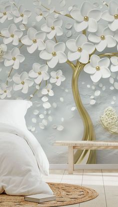 Transform your home with this custom-made Monochrome Blossom wallpaper. So delicate and pretty, this monochrome effect might not be actually shiny or shimmery, but it still looks absolutely fabulous. If installed behind your bedhead, choose a brass metal bed and white duvet covers. Find a range of wooden décor pieces such as drawers and bedside table, together with a wooden bench. Add a woven jute rug for a boho feel that will match the vibe of the room perfectly! White Duvet Covers, Metal Beds, Wooden Decor, All Design, Wall Murals, Wallpaper, Room, Inspiration, Beautiful