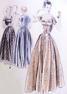 Late 40s Evening Gown Pattern Vogue Couturier Design 517 Lovely Low Shaped Neckline, Full Skirt and Circular Petticoat Vintage Sewing Patter...