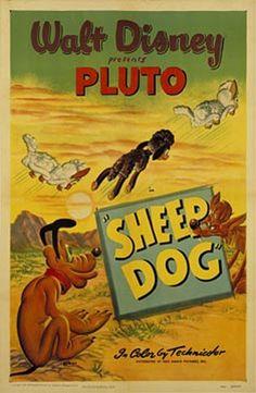 """Sheep Dog"" Pluto Disney Cartoon short movie poster"