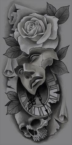 Chicano Art Tattoos, Kunst Tattoos, Bild Tattoos, Skull Tattoos, Body Art Tattoos, Clock Tattoo Design, Tattoo Design Drawings, Skull Tattoo Design, Tattoo Sketches