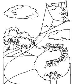 Flying A Kite Coloring Pages classroom ideas Pinterest Kites