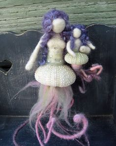 MADE to order - Needle Felted Sea Urchin Mermaid Mama with Baby Girl, limited edition, Original design by Borbala Arvai
