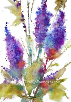 LILACS Flower Art, Watercolor Print, Flower Painting, Watercolor Painting, Wedding, Wall Art, Flowers, Boho Chic Arts by PamelaHarnoisArt on Etsy https://www.etsy.com/listing/234047064/lilacs-flower-art-watercolor-print