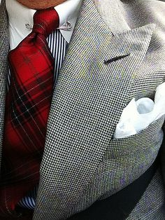 Houndstooth jacket, striped shirt and red plaid tie = perfection.