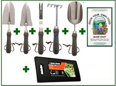Summer Gardening Sale Premium 7Pc Churchill Series Deluxe Stainless Steel Gardening Tool Set with Wood Handles and Leather Straps plus Gardening Booklet and Kneeling Pad -- Learn more by visiting the image link.