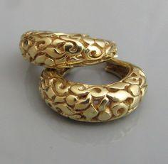 14 k Gold Hoop Earrings   Gypsy Gold by malkaravinajewelry on Etsy
