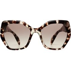 Prada PR16RS Sunglasses ($170) ❤ liked on Polyvore featuring accessories, eyewear, sunglasses, brown, tortoise shell sunglasses, over sized sunglasses, brown glasses, prada sunglasses and oversized square sunglasses