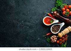 Black Plate On Black Stone Background Stock Photo (Edit Now) 1729030255 Baked Asparagus, Spices And Herbs, Barbecue Sauce, Salmon, Photo Editing, Stock Photos, Baking, Room Inspiration, Steak
