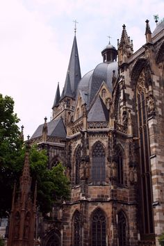 Aachen Cathedral, Germany. Love all the rooflines, gables, and spires.