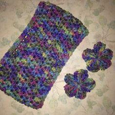Crochet money color 100% soft acrylic yarn ear warmer headband with detachable flower metal hair clips and hand made clay lilac button enclosure $20