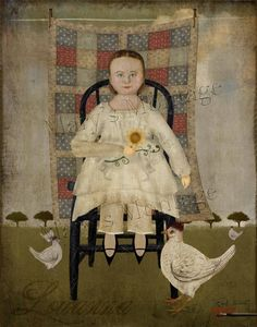 Louanna & the Chickens, Naive style of early American folk art portrait. Print your own. Use to frame, cardmaking, decoupage etc. You will receive 1
