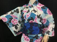 浴衣 YUKATA JAPONAIS - FLORAL BLEU 1424