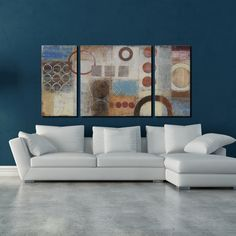 Studio 212 'Reflections' 30x60-inch Textured Canvas Triptych Art Print - Overstock Shopping - Top Rated Canvas