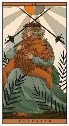 VIII - S t r e n g t h, an art print by Juliette Cousin Strength Tarot, Tarot Major Arcana, Illustration Art, Illustrations, Lion Art, Oracle Cards, Tarot Decks, Tarot Cards, Fantasy Art