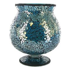 This Turquoise Glass Mosaic Brandy Hurricane Candle Holder will add a touch of shimmer to home, office and event decor. Blue Mosaic, Mosaic Diy, Mosaic Crafts, Mosaic Glass, Hurricane Vase, Hurricane Candle Holders, Votive Holder, Teal Accents, Pinterest Crafts