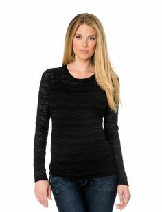 BCBGMAXAZRIA Long Sleeve Scoop Neck Lace Maternity T Shirt