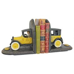 Vintage Yellow Cab Cast Iron Sculpture Car Bookend Pair